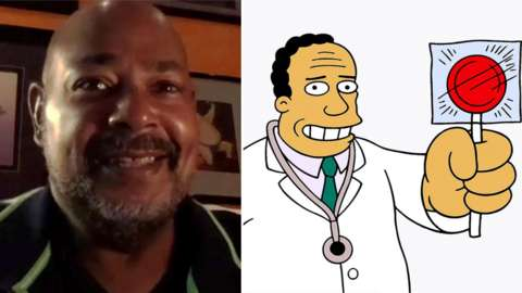 Kevin Richardson and The Simpsons character Dr Hibbert