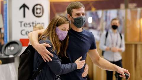 Couple at Heathrow