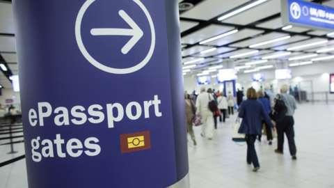 Photo of passport gates at Gatwick