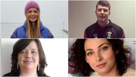 Clockwise from top left - Francesca Murphy, Tom Morgan, Lorena Mihaleca and Sian Edwards