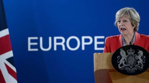 British Prime Minister Theresa May gives a press conference on the second day of a European Union leaders summit in October 2016