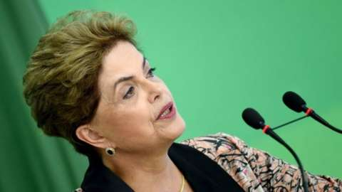 Brazilian President Dilma Rousseff speaks during a news conference with international press at Planalto Palace in Brasilia on 19 April, 2016.