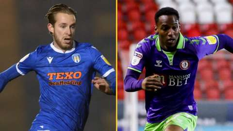 Opi Edwards playing for Bristol City and Ben Stevenson playing for Colchester