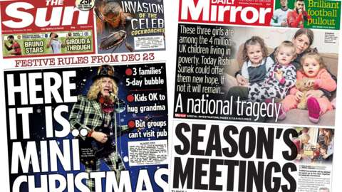 Composite image of the Sun and Daily Mirror front pages