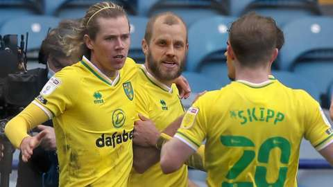 Todd Cantwell celebrates scoring Norwich's second goal
