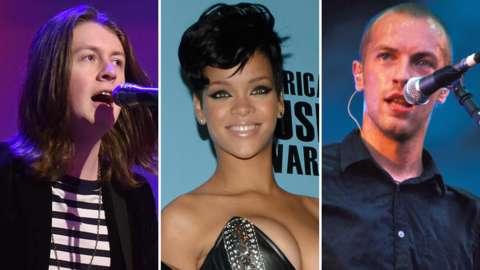 Left-right: Blossoms singer Tom Ogden, Rihanna, Coldplay's Chris Martin