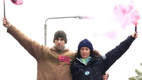 Sailor Laura Baldwin and gold medallist canoeist Etienne Stott