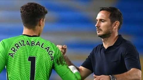 Kepa Arrizabalaga and Frank Lampard