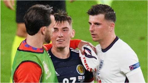 Mason Mount, Ben Chilwell and Billy Gilmour after the England v Scotland match