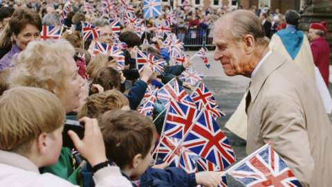 Prince Philip, Duke of Edinburgh during a visit to Hereford, UK, May 1996