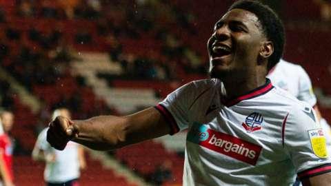 Oladapo Afolayan celebrates his goal for Bolton against Charlton
