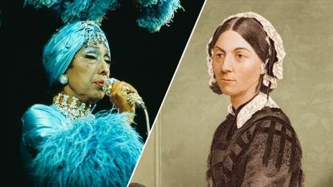 Split image of Josephine Baker and Florence Nightingale