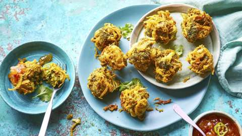 Plates of vegetable bhajis