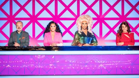 The RuPaul's Drag Race UK judges from L-R: Graham Norton, Michelle Visage, RuPaul and Elizabeth Hurley