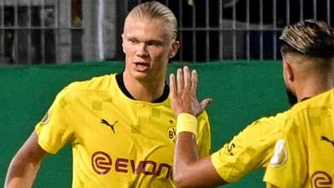 Erling Braut Haaland celebrates scoring for Borussia Dortmund against Wehen