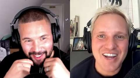 Split image: Tony Bellew on one side, Jamie Laing is on the other