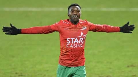 Zambia's Fashion Sakala celebrates a goal for Belgian club KV Oostende