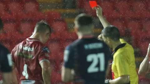 Josh Helps is sent off against Edinburgh