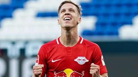Dani Olmo celebrates scoring for RB Leipzig against Hoffenheim