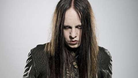 Portrait of American musician Joey Jordison, guitarist with hard rock group Murderdolls, taken on June 30, 2010