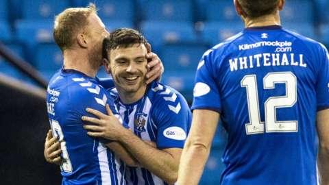 Chris Burke congratulates Greg Kiltie after scoring for Kilmarnock