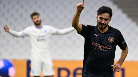 Ilkay Gundogan scores for Man City