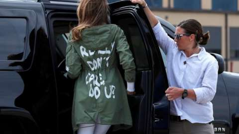 Melania Trump wears a jacket which reads 'I really don't care, do u?'