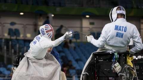 British wheelchair fencer Piers Gilliver in action