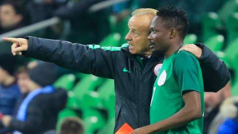 Nigeria coach Gernot Rohr gives instructions to Ahmed Musa