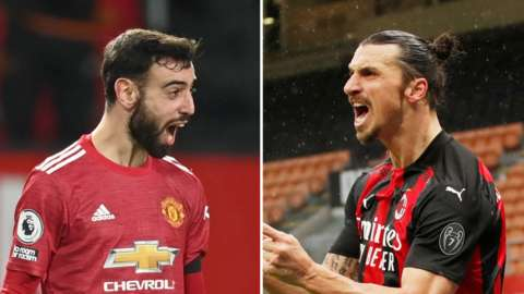 "Manchester United's Bruno Fernandes and AC Milan""s Zlatan Ibrahimovic"