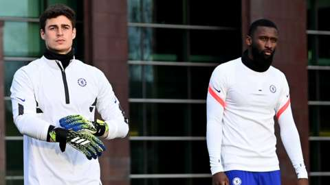 Kepa Arrizabalaga and Antonio Rudiger in training on Tuesday