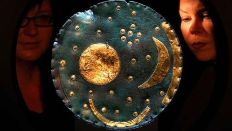 Germany - Saxony-Anhalt - Halle: State Museum of Prehistory; reopening after reorganisation; the Nebra sky disk (1600 BC., Bronze Age Unetice culture) (Photo by Schellhorn/ullstein bild via Getty Images)