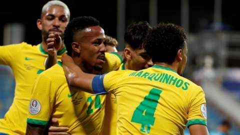 Brazil celebrate Eder Militao's goal against Ecuador