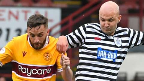 Motherwell's Steven Lawless and Queen's Park's Grant Gillespie