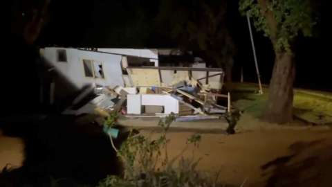 A knocked-down house near Kalbarri damaged by the cyclone