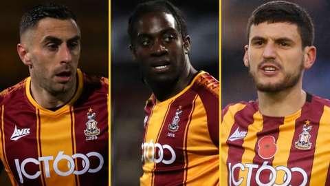 Bradford's Lee Novak, Clayton Donaldson and Anthony O'Connor