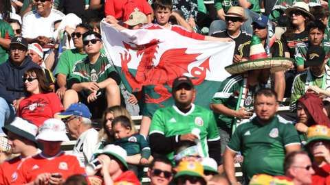 Wales and Mexico fans