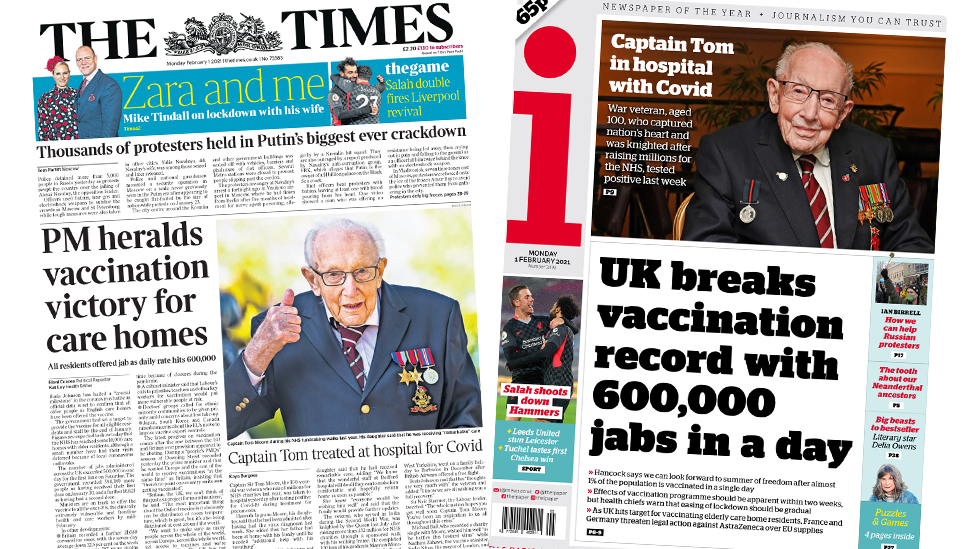 The Times and the i front pages 1 February 2021