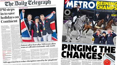 Daily Telegraph and Metro front pages for 03/08/21