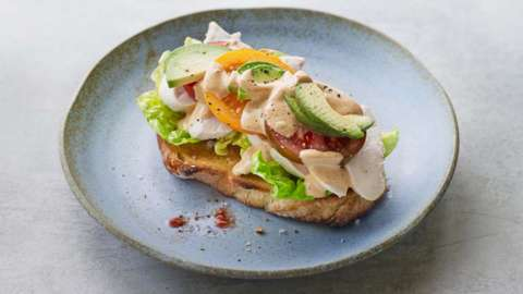 Californian sourdough chicken open sandwich