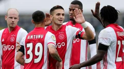 Ajax celebrating
