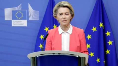European Commission President Ursula von der Leyen gives a press statement