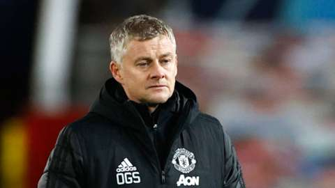 Manchester United manager Ole Gunnar Solskjaer looking pensive after the match