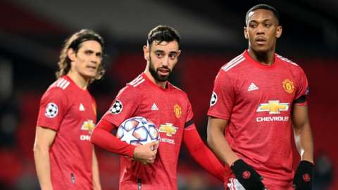 Man Utd's Edinson Cavani, Bruno Fernandes and Anthony Martial