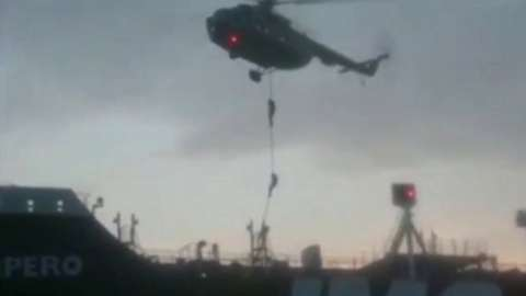 Image from video provided by Iranian Revolutionary Guards Corp website purporting to show Iranian forces boarding the British-flagged tanker Stena Impero on 20/07 19