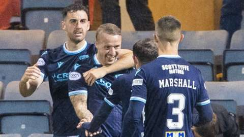 Leigh Griffiths celebrates making it 1-0 to Dundee