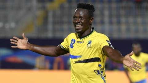 Tanzania's Simon Msuva celebrating a goal at the 2019 Africa Cup of Nations