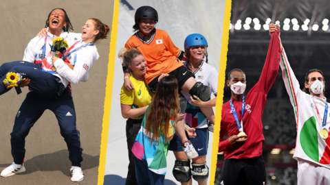 Bethany Shriver and Kye Whyte, the women's park skateboarders and Essa Barshim and Gianmarco Tamberi