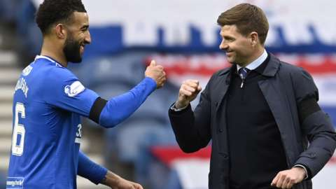 Rangers' Connor Goldson and manager Steven Gerrard