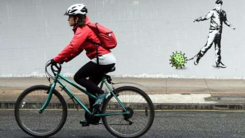 Cyclist in pandemic